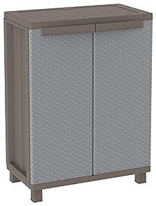 Terry J Rattan 68 Armario 2 Puertas con 1 Interno. Capacidad máxima del Estante: 20 kg distribuidos de Forma Uniforme, Gris, 68X37,5X91,5 cm