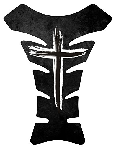 Size is 8.5 in tall x 6.5 in wide Jesus Christian Cross Black White Motorcycle Gas Tank pad Protector Decal Sticker