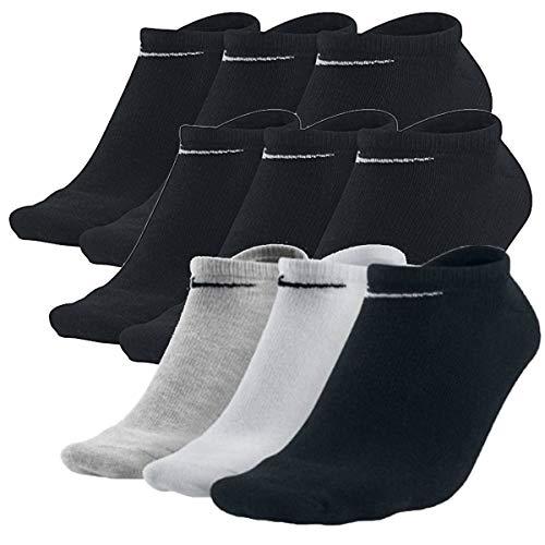 Nike Sneakersocken Socken 9 Paar Weiß Grau Schwarz Herren Damen Füßling, Farbe:Schwarz/schwarz/bunt, Socken Neu:38-42