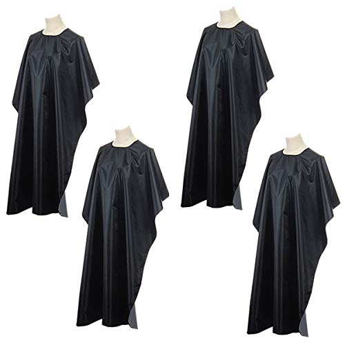 OBTANIM Hair Salon Capes with Snap Closure Waterproof Hairdressing Styling Hair Cutting Coloring Gown Professional Nylon Cape for Barber Hairdressers (4 PACK)