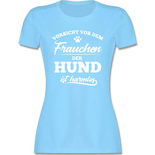 Hunde - Vorsicht vor dem Frauchen der Hund ist harmlos - L - Hellblau - Hunde Tshirt Damen lustig - L191 - Tailliertes Tshirt für Damen und Frauen T-Shirt