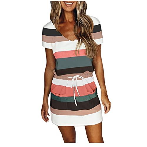 Damen Kleid Sommerkleid für Damen V-Ausschnitt Swing Kleid Strandkleid Lose Einfarbig Kleid Streifen T-Shirt Kleid Minikleid Damen Kleid mit Elegant Kurze Strand Freizeitkleider