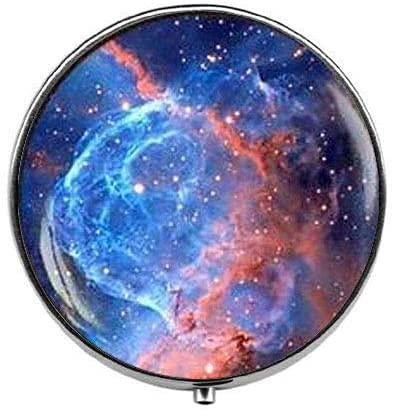 Blue Space Sunrise - Pastillero de nebulosa azul - Caja de pastillas...
