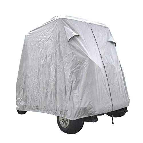 Summates Golf Cart Cover, Fits Yamaha Drive, EZ Go,Club Car Precedent,Color Tan, Gray (Light Gray, Fit 2-Person)