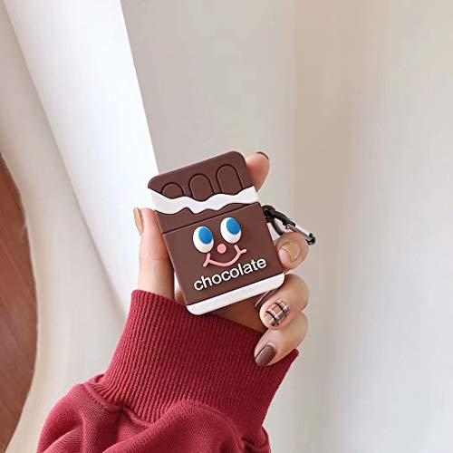 SevenPanda Chocolate Hülle für Apple Airpods, Schokolade Silikon 3D Lustige Airpod Hülle, Weiche Kawaii Kits mit Karabiner, Einzigartige Hülle für Mädchen Kinder Frauen Air Pods - Braun