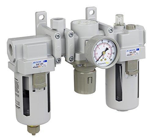 PneumaticPlus SAU400A-N04G - Dual Air System 1/2' NPT - Air Filter, Regulator & Lubricator w/Additional Free Air Port 3/8' NPT - Manual Drain, Poly Bowl, Pressure Gauge