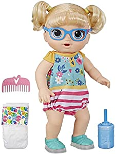 """Shoes light up – Baby Alive step 'N giggle baby doll has shoes that really light up with each step! 25+ sounds and phrases - this doll responds to playtime with 25+ giggles, sounds, and phrases! She comes with English or Spanish mode and a """"mommy"""" or..."""