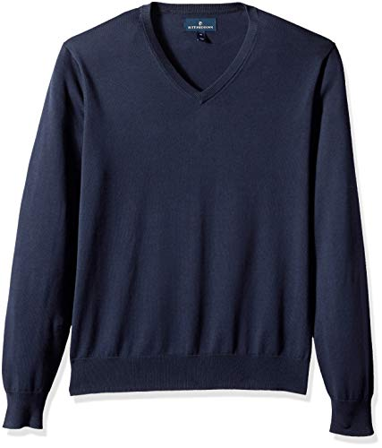 BUTTONED DOWN Men's Supima Cotton Lightweight V-Neck Sweater, midnight navy, Large