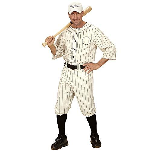 Widmann 49492 - Erwachsenenkostüm Baseball Spieler, Shirt, Hose mit Gürtel und Kappe, weiß, Größe M
