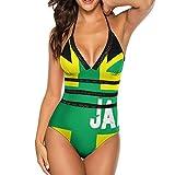 Jamaican JAMA Flag One-Piece Swimsuit Swimsuits Novelty Bikini Swimsuits Tummy Control Bathing Suit for Women White
