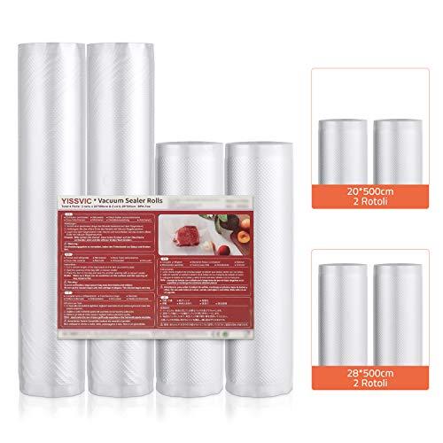 YISSVIC Sacchetti Sottovuoto Alimenti, 2 Rotoli 20x500 cm + 2 Rotoli 28x500 cm (Totale 20 m), Sottovuoto Sacchetti per Conservazione Alimenti Cottura