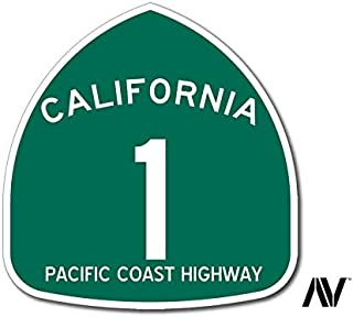 American Vinyl Green Pacific Coast Highway 1 Sign Shaped Sticker (Road rv PCH Road Route)