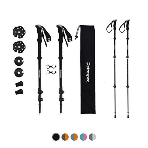 Retrospec High Point Trekking and Ski Poles Aluminum 6061 with Foam Grip - Adjustable Lightweight Hiking/Walking Sticks, Black (3554)