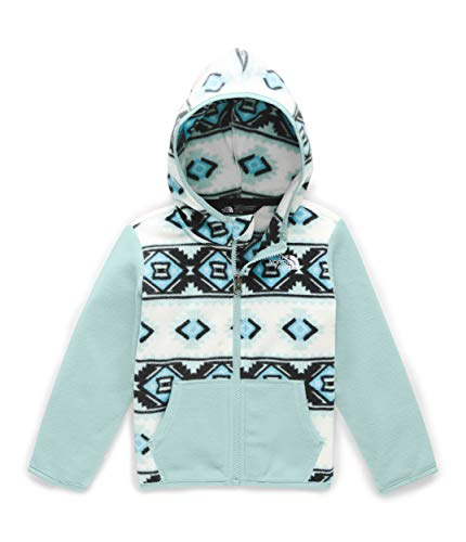 The North Face Toddler Girls' Glacier Full Zip Fleece Hoodie, TNF White Mini Tribal Geo Print, 2T