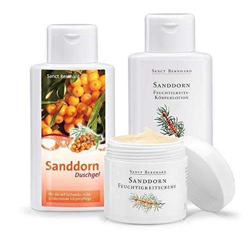 Sanct Bernhard Sanddorn Feuchtigkeits-Pflegeset: Feuchtigkeitscreme, Körperlotion plus Duschbad gratis dazu