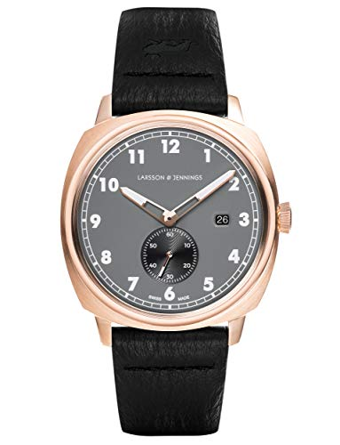 Larsson & Jennings Meridian Unisex Hombres & Mujer Relojes with 38mm Charcoal dial and Black Leather Strap ME38-LBK-RGC.