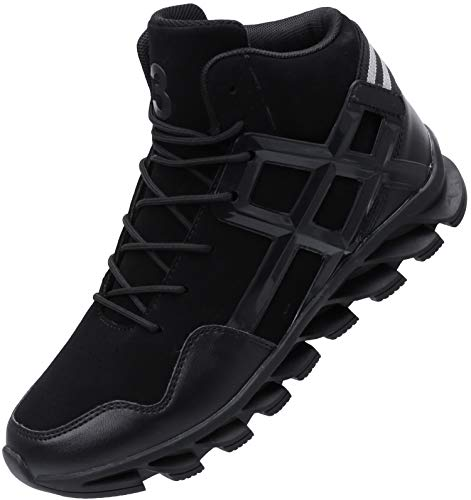 JOOMRA Mens Work Tennis Shoes All Black Leather Lace up High Top Leather Cushion Sport Footwear Jogging Basketball Daily Fashion Sneakers Size 9.5