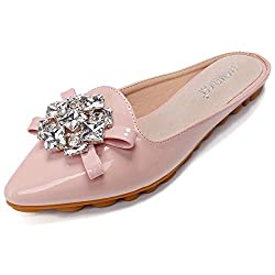 Rhinestone Mules Pointed Toe Slip On Pink Sandal