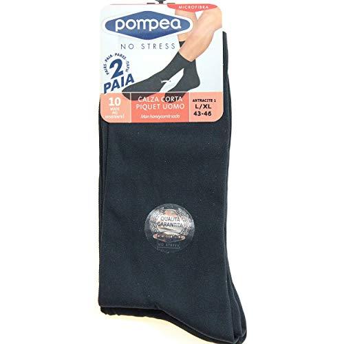 POMPEA 4 Paia di calze corte Uomo Piquet Grigio in microfibra