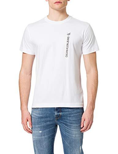 Calvin Klein Jeans CK Vertical Back Graphic Tee T-Shirt, Bianco Brillante, L Uomo