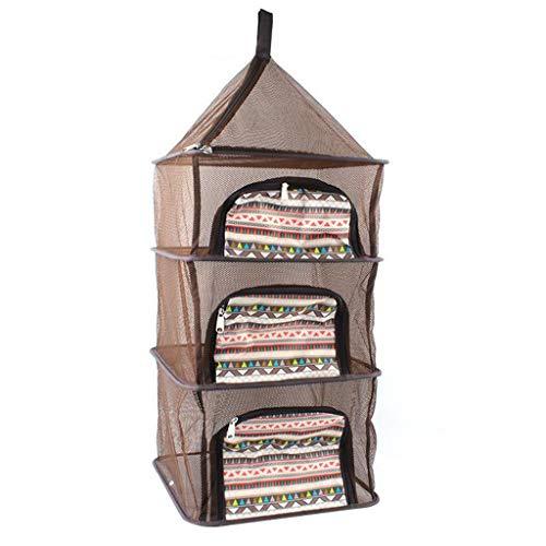 UKtrade Camping al aire libre hogar multiusos 4 capas colgante cesta de almacenamiento colgar ropa cesta de secado vajilla alimentos red seca 39x100cm