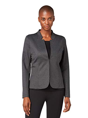 TOM TAILOR Damen Blazer & Sakko Blazer mit Hahnentrittmuster Black Grey small Check,M