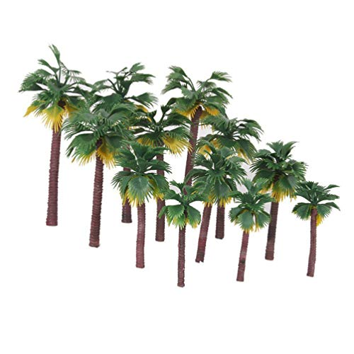 VOSAREA 12PCS Palm Coconut Scenery Model Trees Layout Rainforest Palm Tree Sand Table Toys Bonsai Decoration for Cake Topper Gardening Props DIY Doll House
