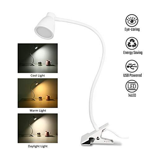 Leselampe Bett Klemme, Lzonunl 14 LED-USB-Leseleuchten, 3 einstellbaren Farbtemperaturen, 5 Helligkeitsstufen, 360 ° Flexibler Led Klemmleuchte, Auto-Off-Timer und Memory-Funktion [Energieklasse A+]