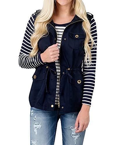 Cicilin Women Sleeveless Lightweight Vest Jacket Utility Vest Military Jacket Vest with Pockets Cargo Utility Safari Vest (Navy M)