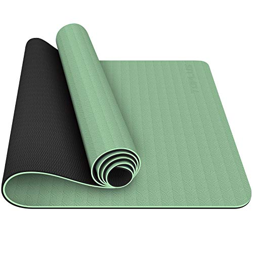TOPLUS Yoga Mat - Classic 1/4 Inch Thick Pro Yoga Mat Eco Friendly Non Slip Fitness Exercise Mat with Carrying Strap-Workout Mat for Yoga, Pilates and Floor Exercises (Grass green)