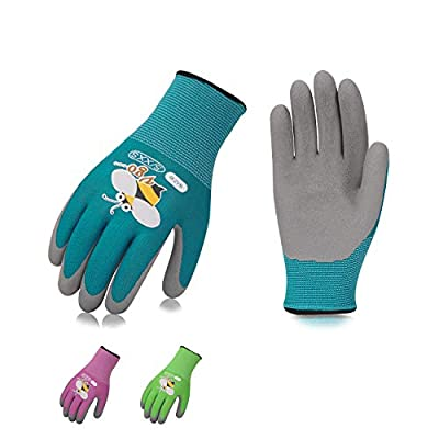 Vgo 3Pairs Kids Gardening,Lawing,Working Gloves,Foam Rubber Coated(3 Colors,KID-RB6013)