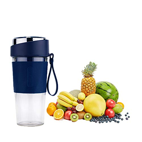 Portable Blender, Smoothie Maker Oplaadbaar met USB lader, Juicer met 2 Roestvrijstalen Messen, 300ml Tritan Drinkfles, Smoothies en Shakes,Blue