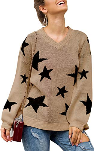 ECOWISH Women Knit Sweaters Long Sleeves V Neck Pullover Loose Fit Fashion Stars Sweater Khaki Small