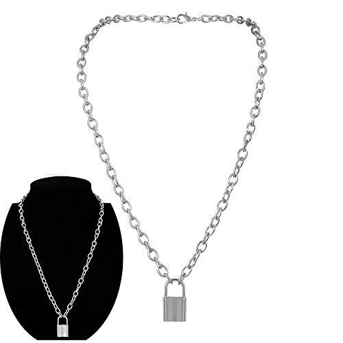 Daimay Legierung Choker Halskette Lock Anhänger für Frauen Männer Chunky Chain Punk Gothic Halsketten - Silber