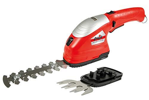Akku-Gras- und Strauchschere - Rasenkantenschere - Grasschere - Heckenschere - Sicherheitsschalter - einfacher Messeraustausch - inkl. Messerschutz, Akku und USB-Ladegerät - 1h Ladezeit