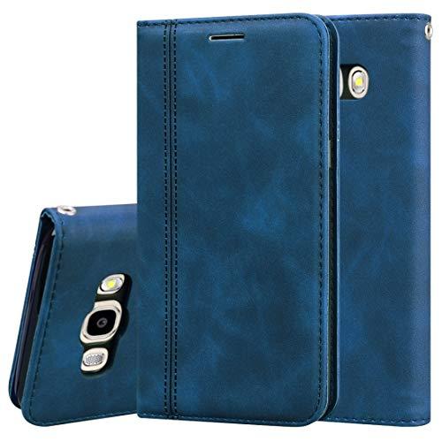 LISUONG MZYN AYDD per Samsung Galaxy J5 (2016) / J510 Business glassato Business Business Horizontal Flip Custodia in Pelle PU con Titolare e Carta Slot & Lanyard (Color : Blue)