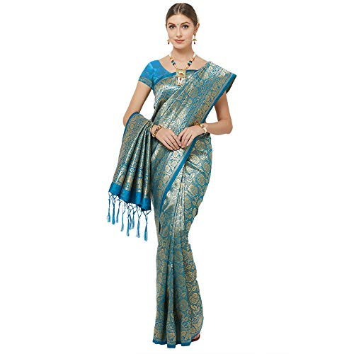 IDIKA Women's Woven Art Silk Saree With Blouse Piece (IDIKA_Navy Blue)