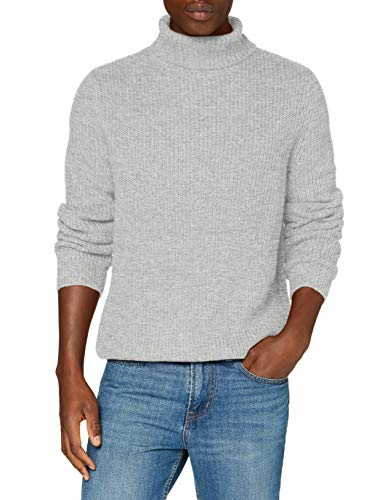 Marque Amazon - find. Pull Col Roulé Homme, Grey (Ice Grey Twist), M, Label: M
