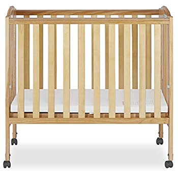Dream On Me 2 in 1 Portable Folding Stationary Side Crib in Natural Greenguard Gold Certified