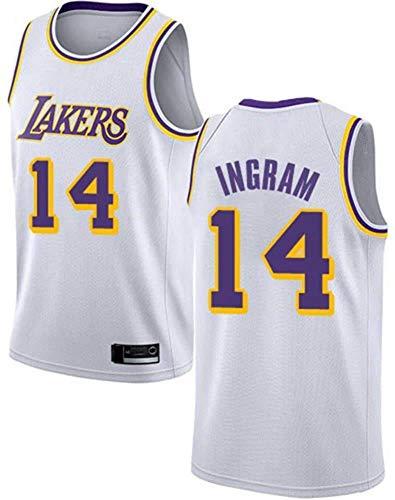 Jersey de Baloncesto para Hombres NBA Los Angeles Lakers 14# Brandon Ingram Cómodo/Ligero/Transpirable Malla Bordada Swing Swing Sworing Sweatshirt,C,XXL