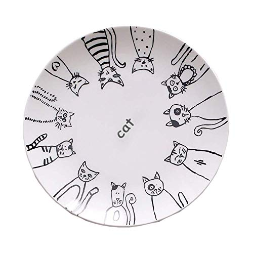 Sortim Super Süß Katze Keramikplatte Essteller Kuchenteller Vorspeise Teller Salat Schale Steak Teller Service Platte für Party Küche Geburtstag Hochzeit Gastronomie MIAU Porzellan - 1, 8 inch