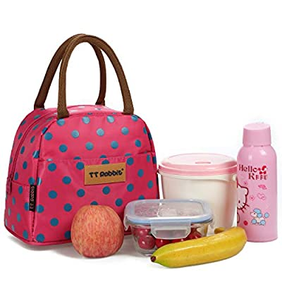 Cute Polka Dots Lunch Bag for Women Insulated L...