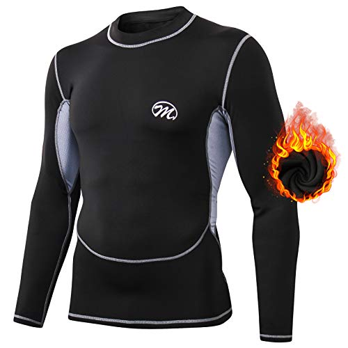 MeetHoo Maglia Termica Uomo, T-Shirt Manica Lunga Maglie Termiche Invernali da Sport Compression Baselayer per Corsa Ciclismo Calcio (Nero-1, M)