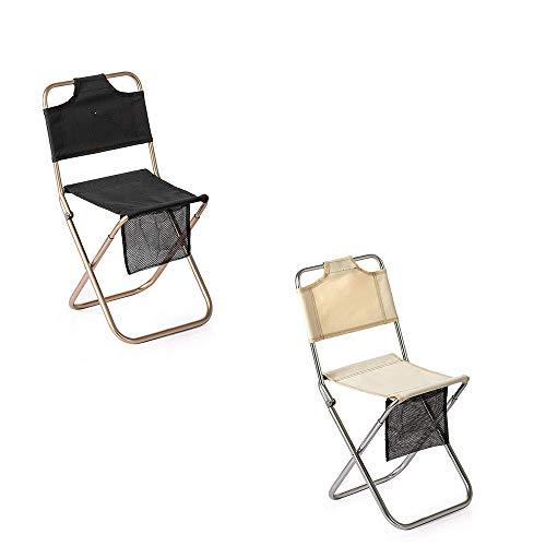 2Pcs Mini Outdoor Aluminium Alloy Tragbarer Klappstuhl, mit Rückenlehne und Aufbewahrungsbeutel, wasserdicht, stabil und langlebig, zum Angeln, Wandern, BBQ