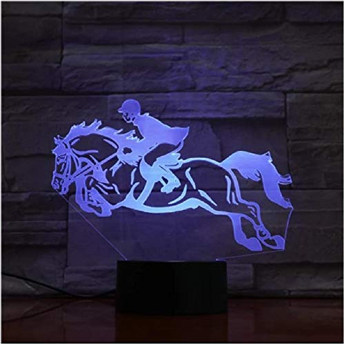 Lámpara 3D Horse Racing Horsing Riding Mejor Presente Para El Sensor Touch Familia LED Luz Luz Lámpara Festival Regalo