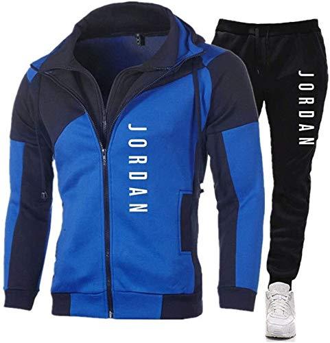 ZeYuKeJi Conjunto de chándal para hombre con cremallera y sudadera con capucha y pantalones para hombre (color: B, talla: XL)