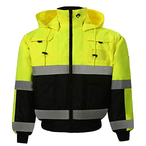 Safety Depot Safety Jacket Class 3 ANSI Approved 8 Pockets, Reversible Clear ID Pocket, Detachable Hood & 4 Pen Divider slots 350C (Lime, Extra Large)