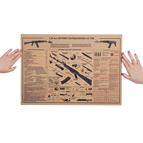 MYTAO AK74 Gun affiche Vintage Kraft papier affiche Wall Sticker Collection Bars cuisine dessins affiche ornement