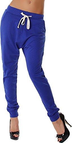Very & Lucy Damen Jogginghose Stoff Sweatpants einfarbig Kordel Harem Baggy tiefer Schritt, Blau 38 40 ML