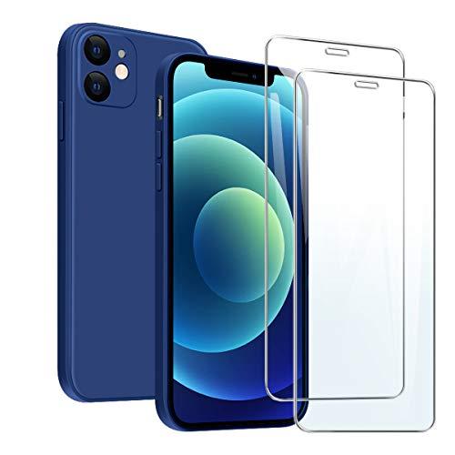 MOONESS kompatibel mit iPhone 12 6.1 Zoll Hülle,Handyhülle für iPhone 12 6.1 Zoll mit 2 Stück Panzerglas,Liquid Silikon TPU Schutzhülle Dünn Backcover -Bleu